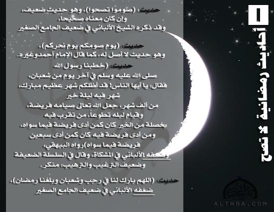 أحاديث رمضانية لا تصح (1)