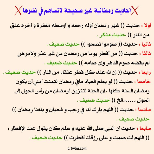 أحاديث رمضانية غير صحيحة لاتساهم في نشرها